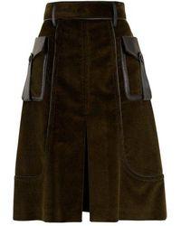 Prada - Slit-front Leather-trimmed Cotton-corduroy Skirt - Lyst