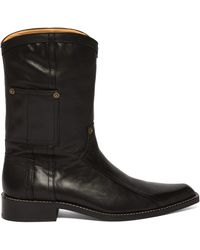 Martine Rose Leather Cowboy Boots - Black