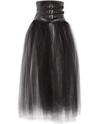 Noir Kei Ninomiya Faux Leather-corset Mesh Skirt - Black