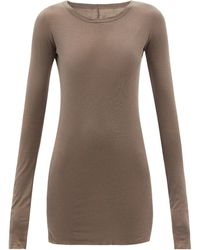 Rick Owens Round-neck Cotton-jersey Long-sleeved T-shirt - Grey