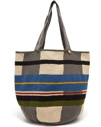 Guanabana Grid Striped Woven Tote Bag - Grey