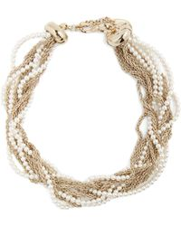 Lanvin | Twisted Faux-pearl And Chain Necklace | Lyst