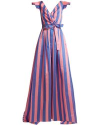 Carolina Herrera - Striped Frilled-sleeve Gown - Lyst
