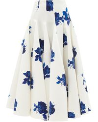 Emilia Wickstead Vonda Godet-insert Floral-print Faille Maxi Skirt - Blue