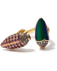 Bibi Van Der Velden Floaty Scarab Diamond, Gold & Silver Ring - Metallic