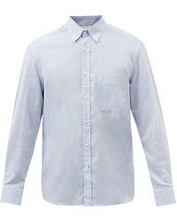 Brunello Cucinelli パッチポケット コットンヘリンボーンシャツ - ブルー