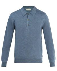 Éditions MR Maxime Wool Polo Shirt - Blue