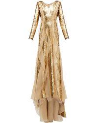 Carolina Herrera Sequinned Silk-organza Gown - Metallic