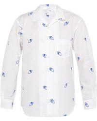 Comme des Garçons Chemise en coton tissé à motif œil en jacquard - Blanc