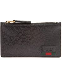 Gucci - Web-trim Grained-leather Cardholder - Lyst