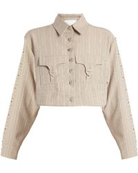 60227282 ART SCHOOL - Blow Crystal Embellished Cotton Cropped Jacket - Lyst