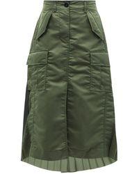 Sacai カーゴポケット ナイロンツイルプリーツスカート - グリーン