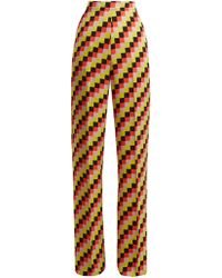 Etro - Palazzo Geometric Print Satin Trousers - Lyst