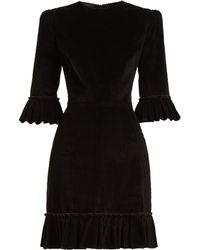 The Vampire's Wife - Festival Ruffle Trimmed Cotton Corduroy Dress - Lyst