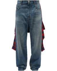 Balenciaga Tied-up Flannel Shirt Relaxed-leg Jeans - Blue