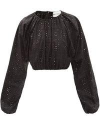 Matteau The Crochet Broderie オーガニックコットンブラウス - ブラック
