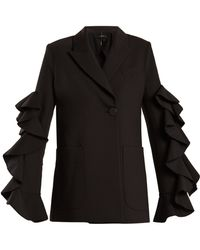 Ellery - Gold Band Double Breasted Ruffle Trimmed Jacket - Lyst