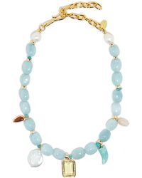 Lizzie Fortunato Basque Pearl & Aquamarine Gold-plated Necklace - Blue