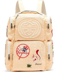 544068198c20 Gucci - Patch-embellished Leather-trimmed Canvas Backpack - Lyst