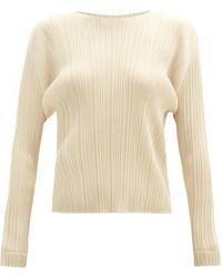 Pleats Please Issey Miyake - Round-neck Technical-pleated Top - Lyst