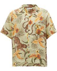 Desmond & Dempsey Cuban-collar Soleia-print Linen Shirt - Multicolour