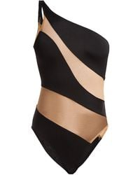 Norma Kamali Mio One Shoulder Mesh Paneled Swimsuit - Black