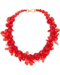 Simone Rocha Floral Beaded Necklace - Red