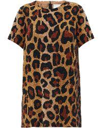 Ashish Robe courte en georgette à motif léopard - Multicolore