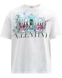 Valentino ローマンスケッチ コットンtシャツ - ホワイト