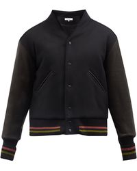 Sasquatchfabrix. Wa-neck Leather And Wool-blend Bomber Jacket - Black