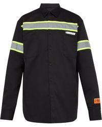 5a52123c Versace Panelled Logo Print Short Sleeved Silk Shirt for Men - Lyst