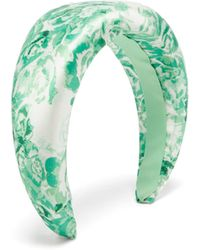 Ganni Floral-print Satin Headband - Green