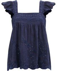Juliet Dunn Ruffle-sleeve Floral-embroidered Cotton Top - Blue