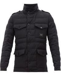 Dolce & Gabbana Logo-plaque Quilted Wool-blend Field Jacket - Black