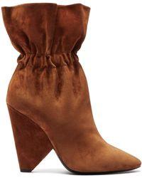 Saint Laurent Niki Slouched Suede Boots - Brown