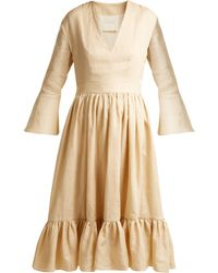 Loup Charmant - Sea Island Bell Sleeve Linen Dress - Lyst