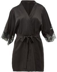 Fleur Of England Lace-insert Silk-blend Robe - Black