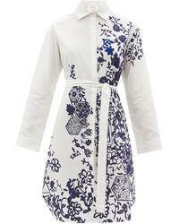 Kilometre Paris Li Galli Meets Limoges Belted Cotton Shirt Dress - White