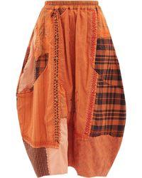 By Walid Jupe longue patchwork en popeline de coton Nadia - Orange