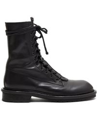 Ann Demeulemeester Double Lace Up Leather Boots - Black
