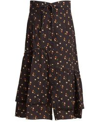 Sea - Margaux Floral-print Ruffled Cotton Midi Skirt - Lyst