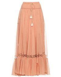 Chloé - Silk-crepon Drawstring Maxi Skirt - Lyst
