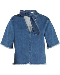 See By Chloé - Tie-neck Frayed-edge Denim Top - Lyst
