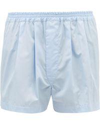Charvet Pleated Cotton-poplin Boxer Shorts - Blue