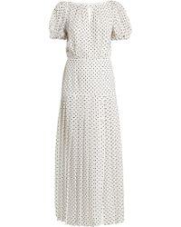 Alessandra Rich - Puff-sleeved Polka-dot Silk Dress - Lyst