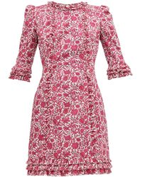 The Vampire's Wife Cate Ruffle Trimmed Floral Print Cotton Mini Dress - Pink