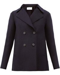 Harris Wharf London Double-breasted Wool Pea Coat - Blue