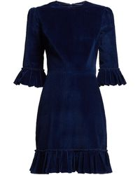 The Vampire's Wife - Mini Festival Ruffle Trimmed Cotton Corduroy Dress - Lyst