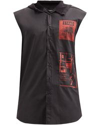 Raf Simons Ss02 フーデッド ノースリーブコットンシャツ - ブラック