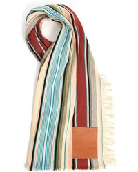 Loewe - Leather-patch Striped Wool-blend Scarf - Lyst